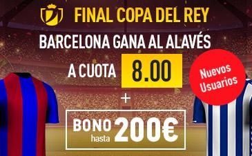 Supercuota Sportium Final Copa del Rey Barcelona Gana Alaves cuota 8