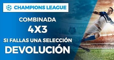 Paston Champions League Combinada 4x3 si fallas una devolución