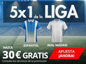 Suertia 5x1 de la Liga Espanyol - R. Madrid
