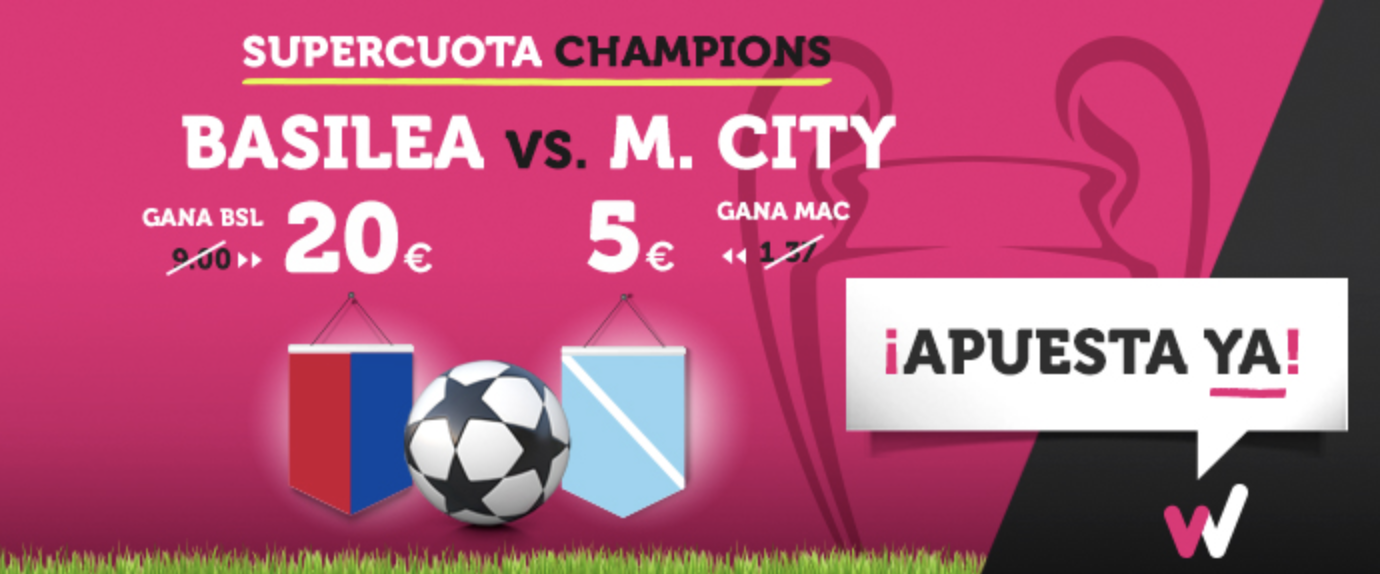 Supercuota Wanabet Champions League Basilea vs M.City