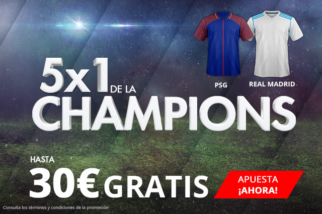 Suertia 5x1 Champions League PSG - Real Madrid hasta 30€ gratis