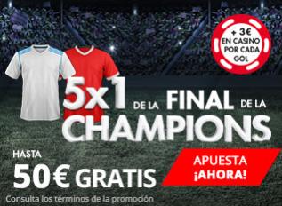 apuestas legales Suertia Final Champions 5x1 hasta 50€ gratis