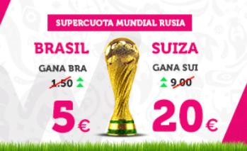Noticias apuestas Supercuota Wanabet Mundial Rusia Brasil - Suiza