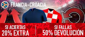 bonos de apuestas Sportium Francia - Croacia 20% extra si aciertas 50% devolucion si fallas